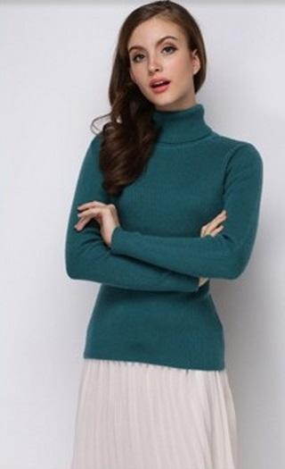 Women's Super Soft Woollen Peocack Blue High Neck Sweater.