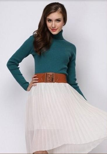 Women's Super Soft Woollen Peocack Blue High Neck Sweater
