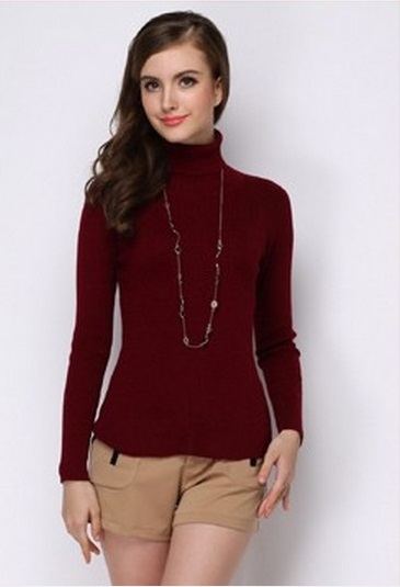 Women's Winter High-Necked Cashmere Rust Red Sweater,