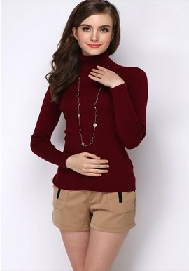 Women's Winter High-Necked Cashmere Rust Red Sweater