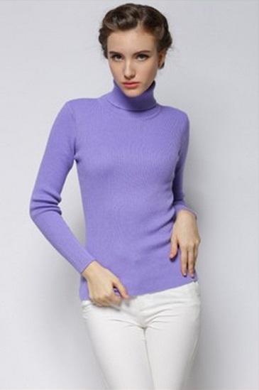 Women's Cool Lavender Turtle Neck Sweater 2
