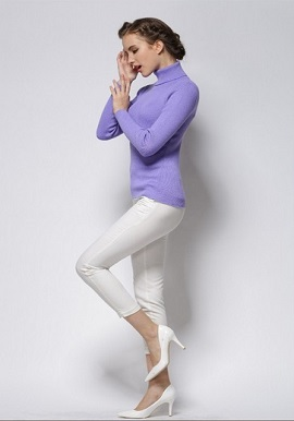 Women's Cool Lavender Turtle Neck Sweater