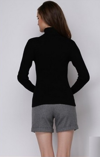 Women's Hot Black Turtle Neck Sweater 1