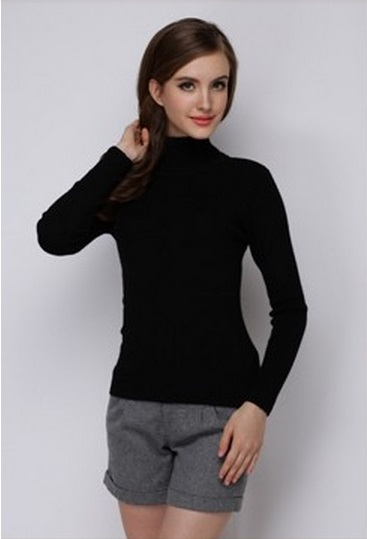 Women's Hot Black Turtle Neck Sweater 2
