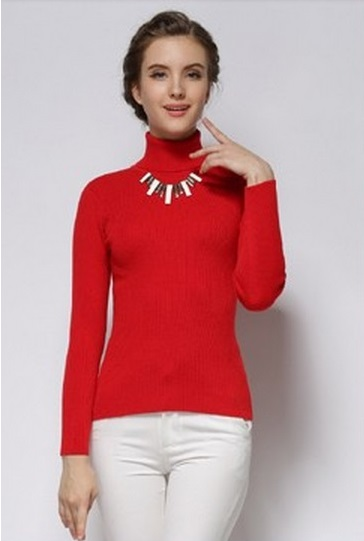 Women's Hot Cashmere Ribbed High Neck Red Sweater 1