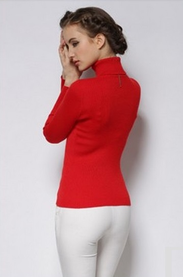 Women's Hot Cashmere Ribbed High Neck Red Sweater 2
