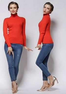 Women's Orange Knit Sweater Bottoming Shirt