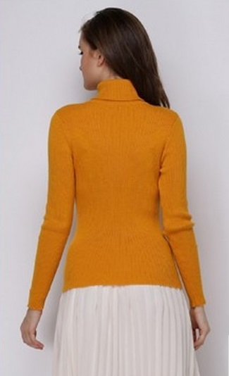 Women's Ribbed Turmeric Turtle Neck Sweater 2