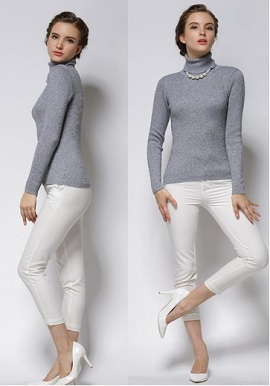 Women's Slim Fit Grey Turtle Neck Sweater