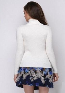 Women's Soft Cashmere High Neck White Wool Sweater 1
