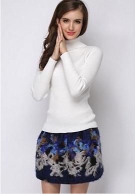 Women's Soft Cashmere High Neck White Wool Sweater 2
