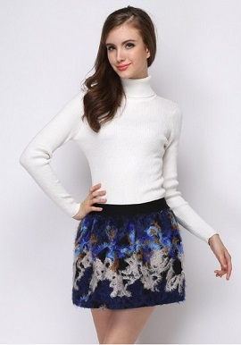 Women's Soft Cashmere High Neck White Wool Sweater