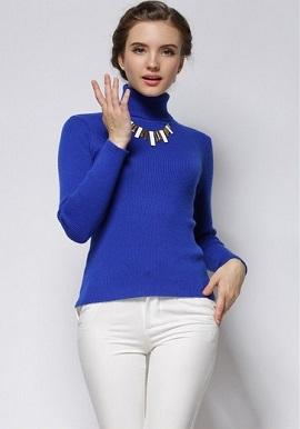 Women's Stripe Ribbed Stretch Cashmere Turtleneck Sweater