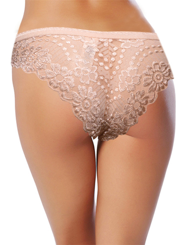 Beige Back Floral Lace Thong By Slpash
