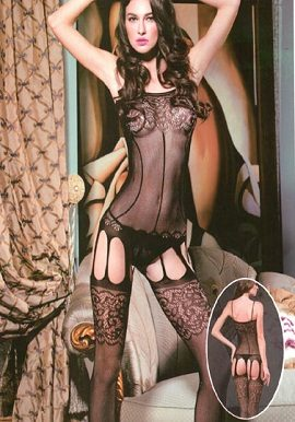 Black Fishnet and Lace Suspender Bodystocking buy online tights,bodystocking pantyhose @ snazzyway.com
