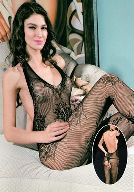 Black See Through Lace Crotchless Bodystocking