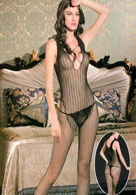 Black Vertical Striped Garter Bodystocking