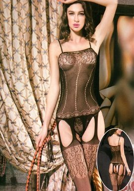 Seductive Black Garter Bodystocking