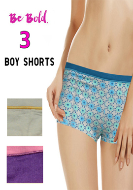 Snazzyway Lovely Cotton Boyshort Panties Pack of 3