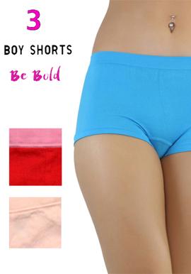 Snazzyway Luxury Cotton 3 Pack of boyshort