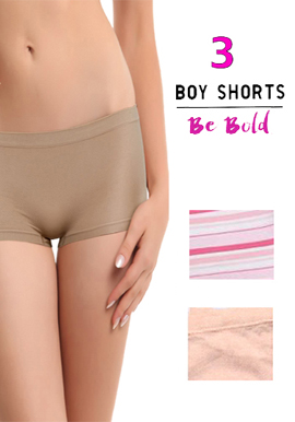 Snazzyway Pack Of 3 Mix Coloured Boyshorts