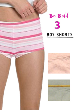 Snazzyway Pretty Cotton Pack of 3 Boyshorts
