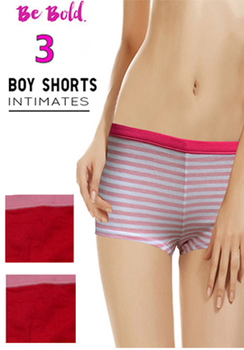 Snazzyway Women's Soft Coloured Combo Pack Of 3 Boyshorts