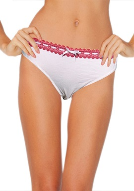 Splash Lace Band White Color Thong