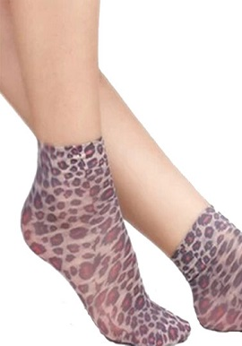 Ultra-Thin Animal Print Silk Transparent Women Short Socks