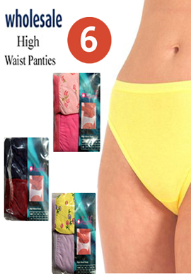 Women's Soft Cotton Wholesale lot of 6 High Waist Panties