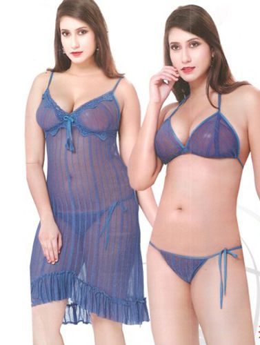 After Dark Sexy Blue Lingerie Babydoll set