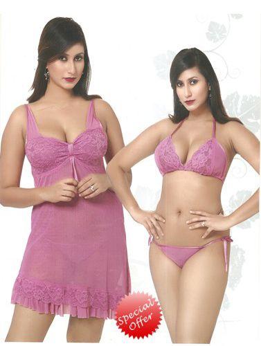 Exotic Purple 3 Piece Babydoll lingerie set