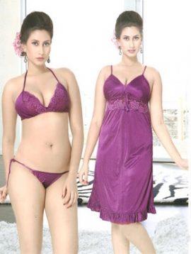 Glamorous Satin Purple Babydoll Set