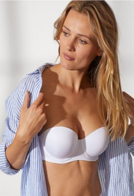 Half Cup White Seamless Strapless Multiway Bra