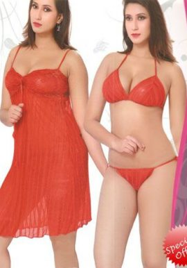 Midnight Surprise Sexy Red Babydoll Lingerie set 3 Piece