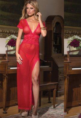 Women's Deep V Neck Side Slit Cut Long Nightwear
