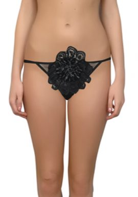 Black Center Rose With Double String Thong Panty