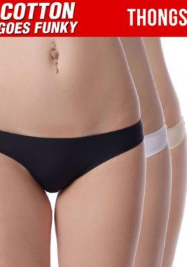 Women's Smooth Plain Soft Three Thong Panties