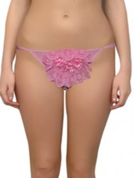 Center Rose Pink Color Double String Thong Bottom