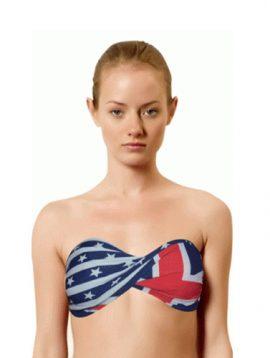 H.Nathalie American Flag Print Bandeau Beach Bra