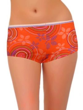 Dress Code Orange Retro Print Boyshort