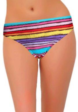 Okay Multi Color Strips Comfy Bikini Bottom