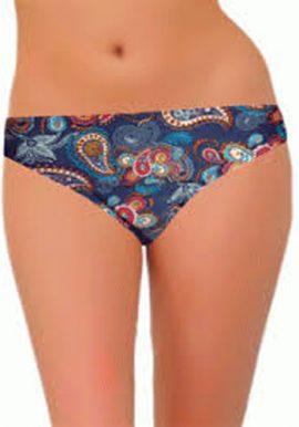 Only Women Dark Blue Retro Print Bikini Bottom