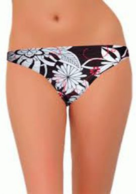 Screwball Lady's Black Floral Print Bikini Bottom