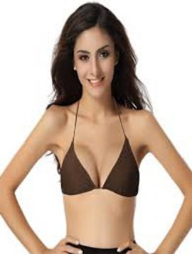 Smooth Brown Plain Tri Halterneck Bikini Bra