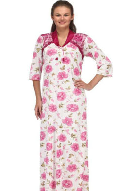 Floral Print Full Length Pink Women's Nightgown