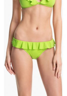 Lady's Sexy Lime Green Plain Frill Bikini Bottom