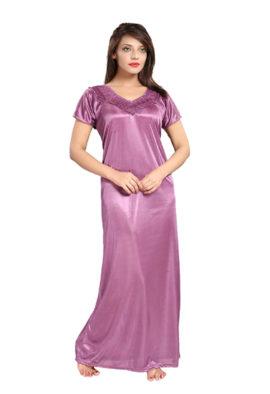 Snazzyway Purple Satin Half Sleeves Full Length Nighty