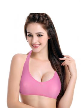 Active Wear Pink Classic Support Halter Bra
