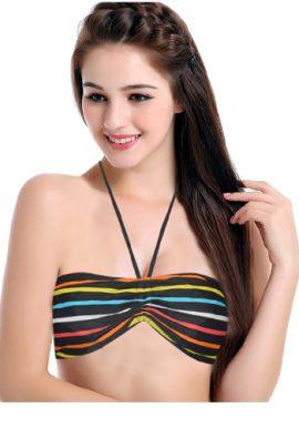Women's Padded Wrinkle Print Halter Bikini Top